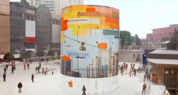 Apple показала ролик со строительства стеклянного цилиндра в Чунцин