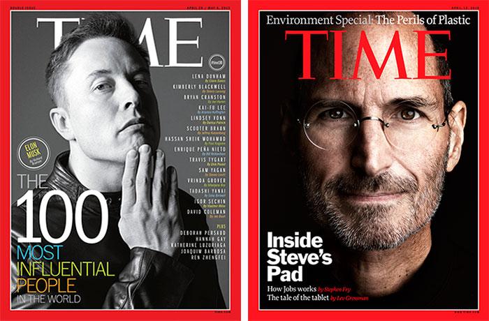 Элон Маск и Стив Джобс на обложках Times