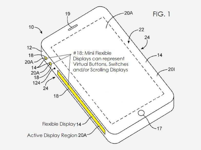 Патент Apple на смартфон с боковыми активными дисплеями